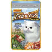 Princess bolsa de pollo (25,5%), atún (25,5%) y almejas (3%)