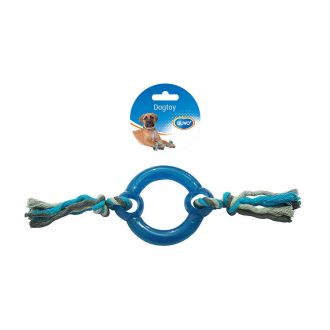 Duvo juguete para perro, tug Knotted cotton pull ring plastic in middle