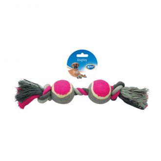 Duvo juguete perro tug knotted cotton two tennis Telepiensoscanarias