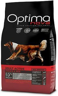 Optima nova adult active pollo y arroz con un 65% de carne de ave