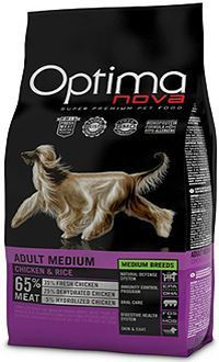Optima nova adult medium con pollo y arroz pienso con antioxidantes naturales
