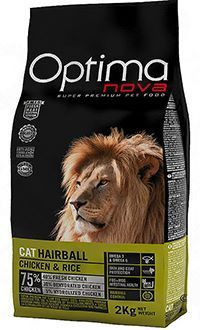 Optima nova hairball gatos adultos pollo y arroz reduce las bolas de pelos