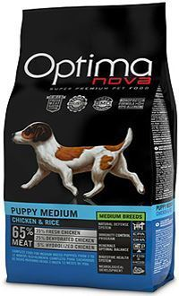 Optima nova puppy medium con pollo y arroz con un aporte extra de zinc
